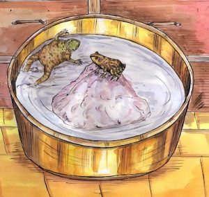 frogs in bucket of cream